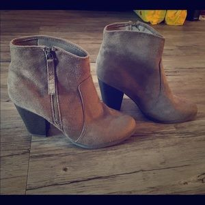 Faux suede tan boots
